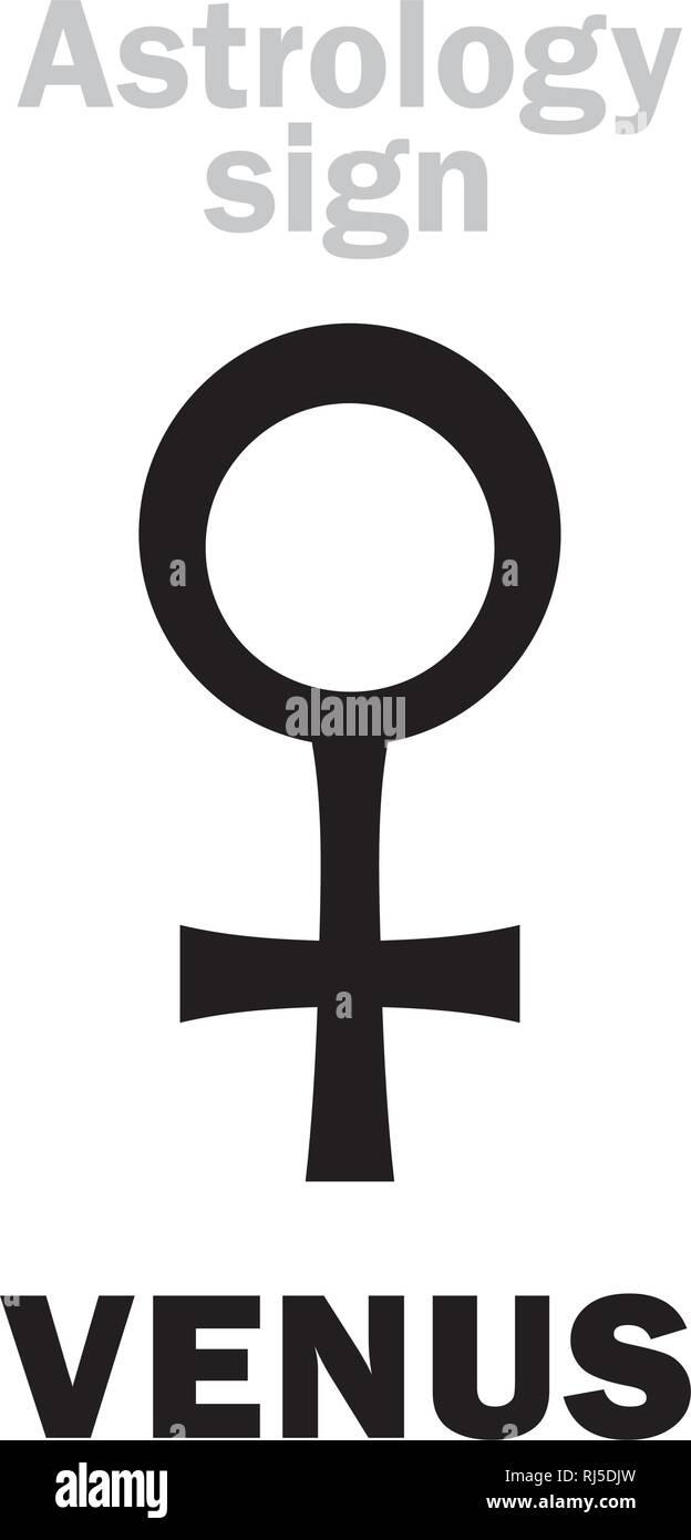 Astrology Alphabet: VENUS, classic minor planet. Hieroglyphics character sign (Lingam symbol). - Stock Image