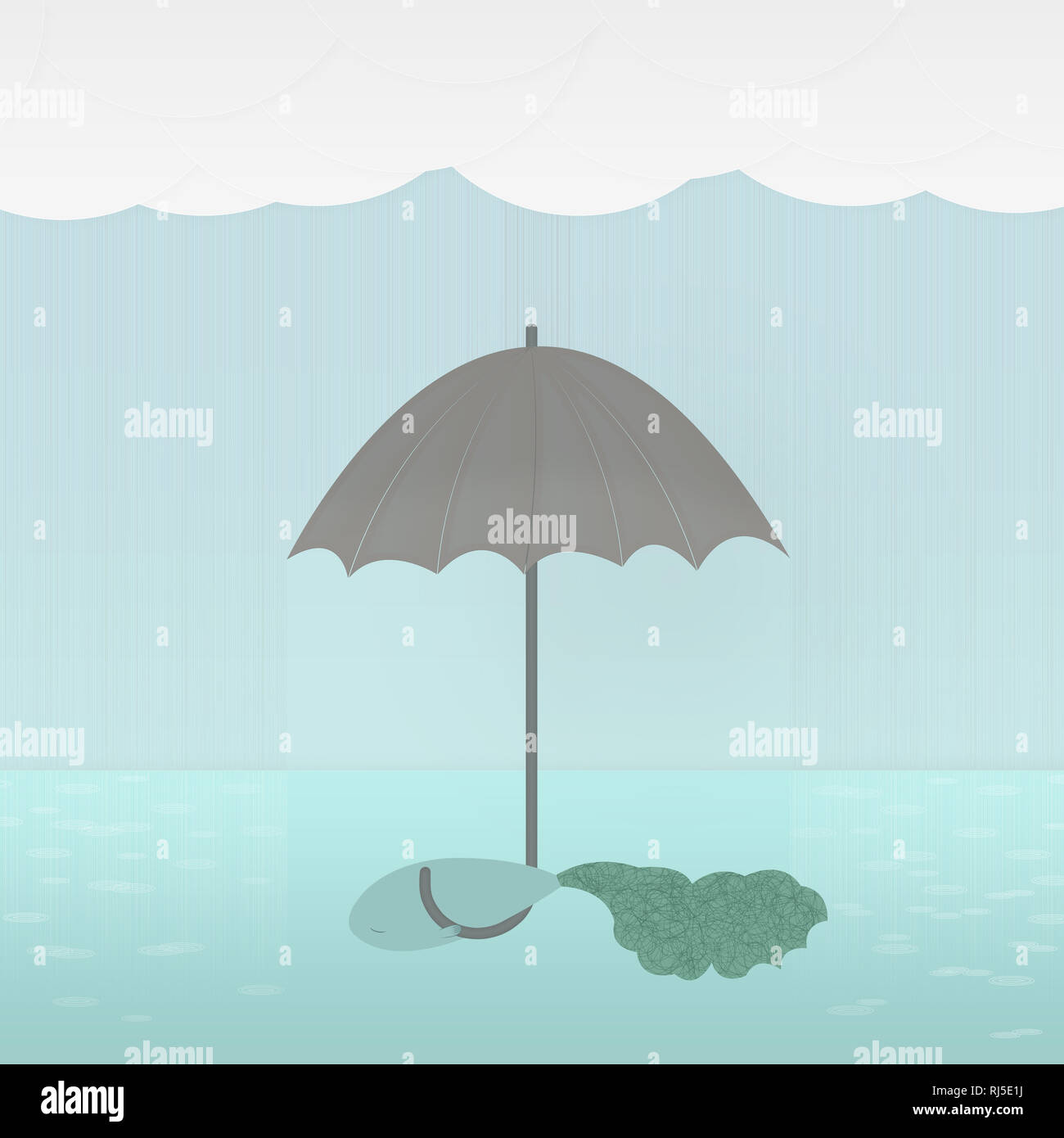 Abstract illustration of a fish with an umbrella in the water in the rain - Stock Image