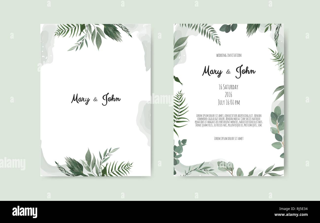 Botanical Wedding Invitation Card Template Design White And Pink Flowers On White Background Stock Vector Image Art Alamy