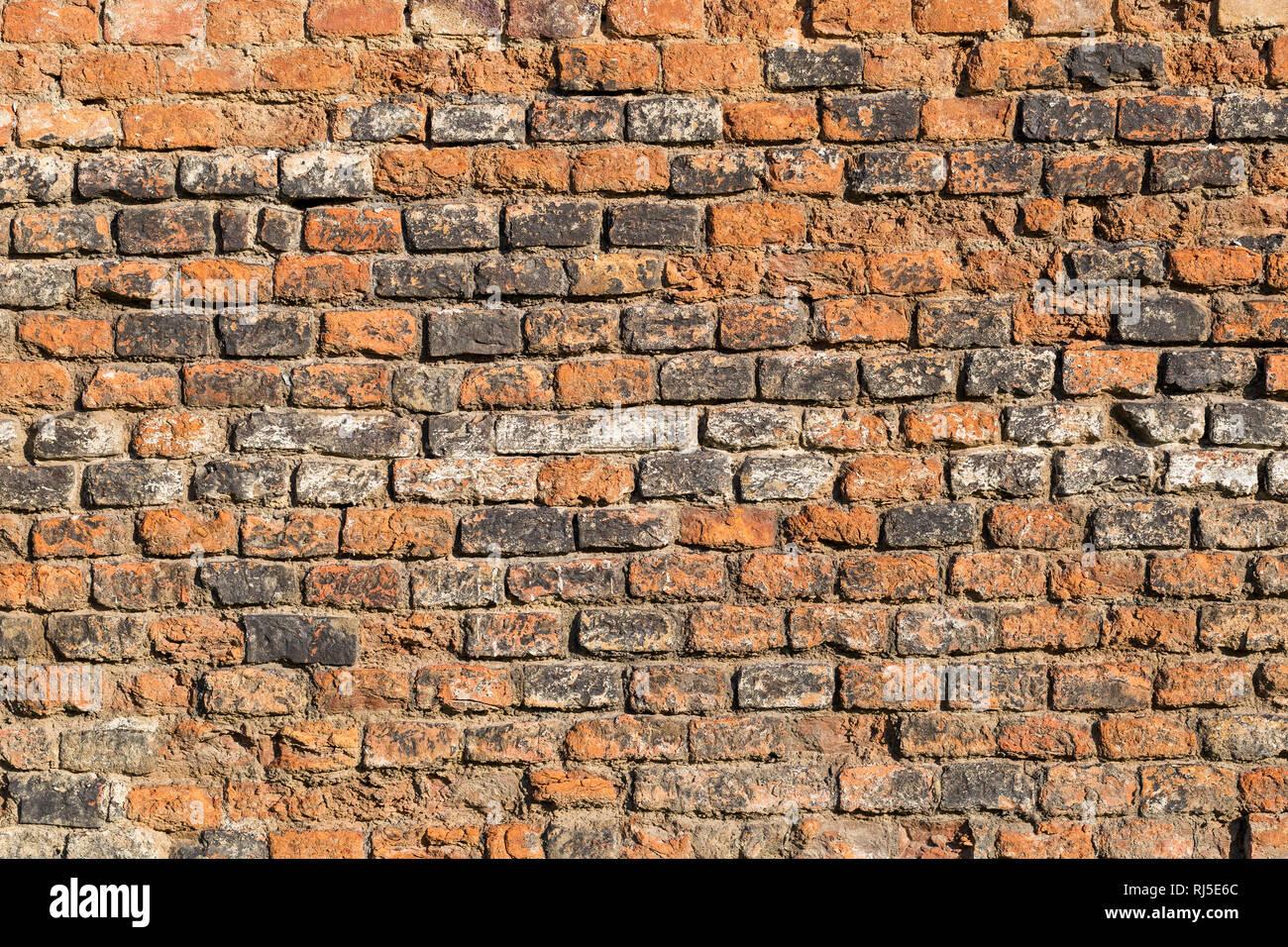 Alte Ziegelmauer, aufgenommen in Vösendorf, Niederösterreich, Österreich, - Stock Image
