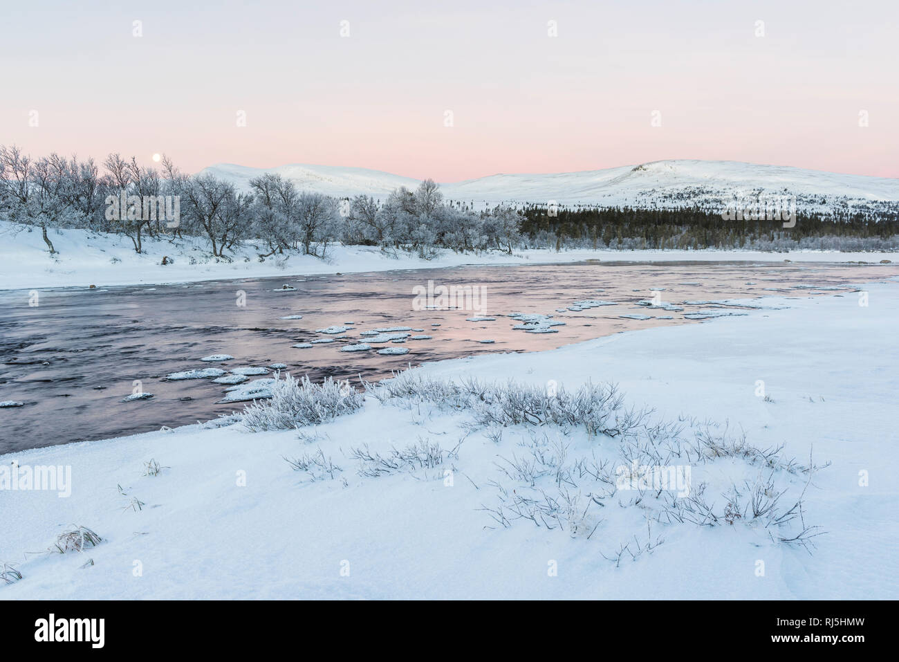 View of lake in winter Stock Photo