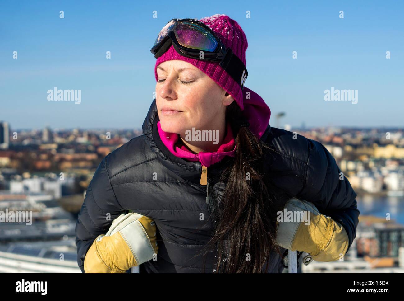 A woman skier Stock Photo