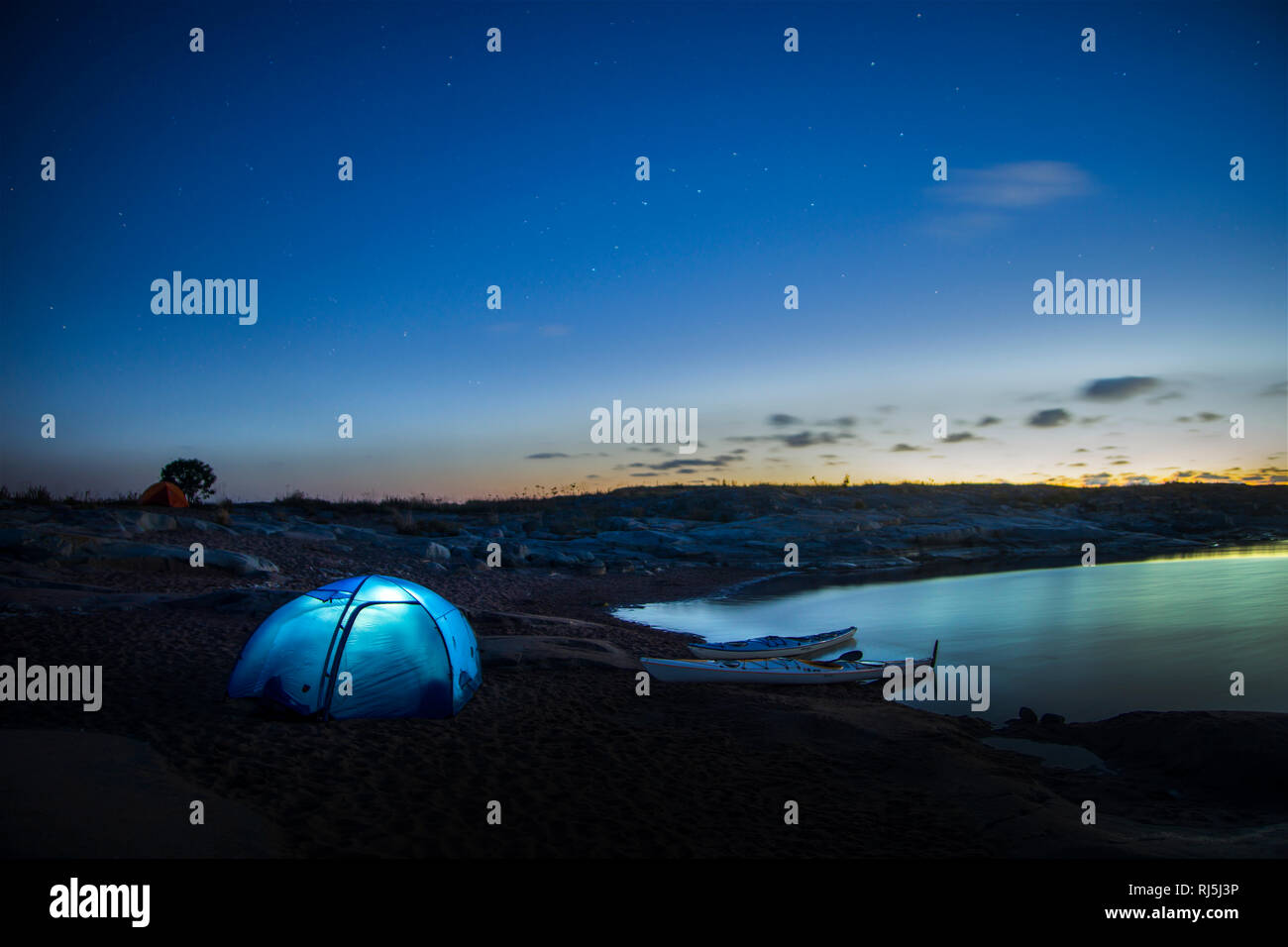 Tent in the night Stock Photo