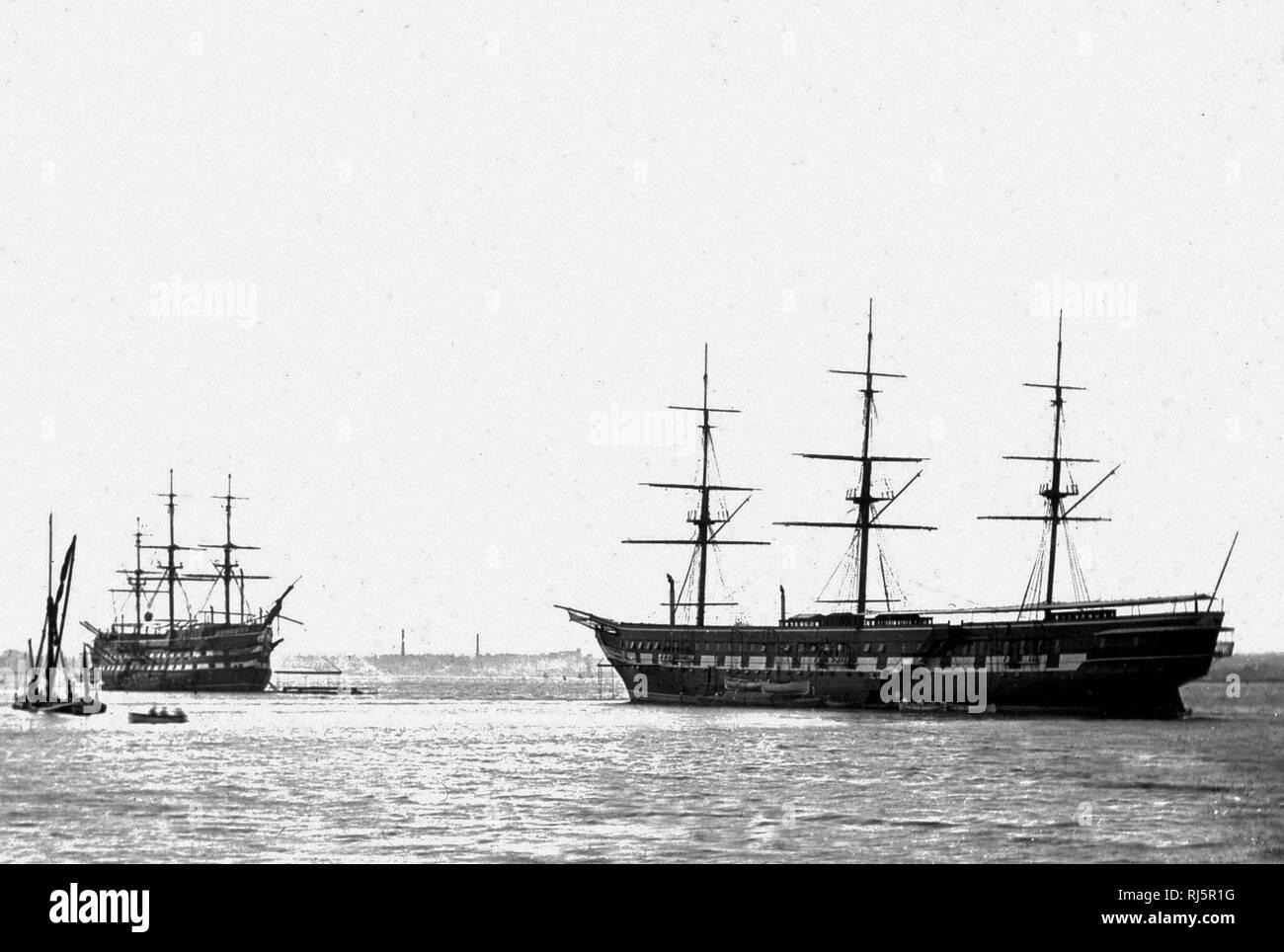 Royal Navy Training Ship HMS Shaftesbury at Grays, River Thames - Stock Image