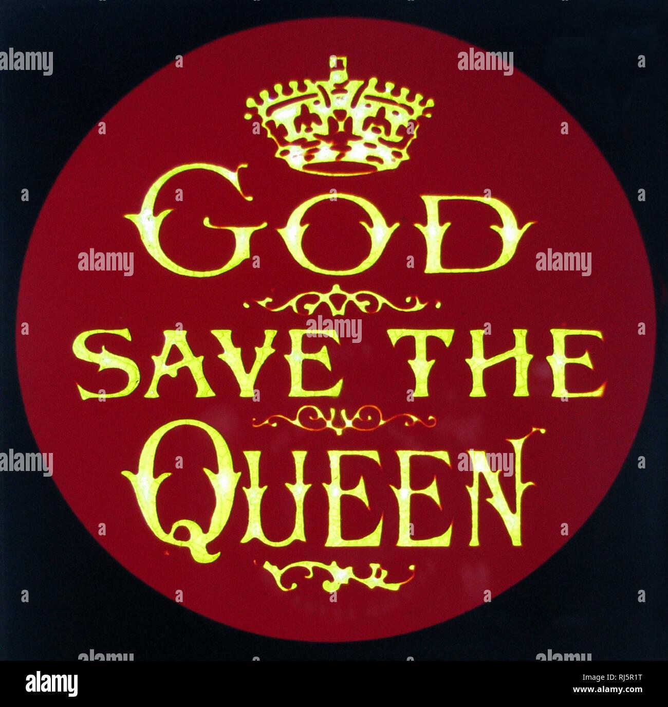 God Save the Queen magic lantern slide Stock Photo