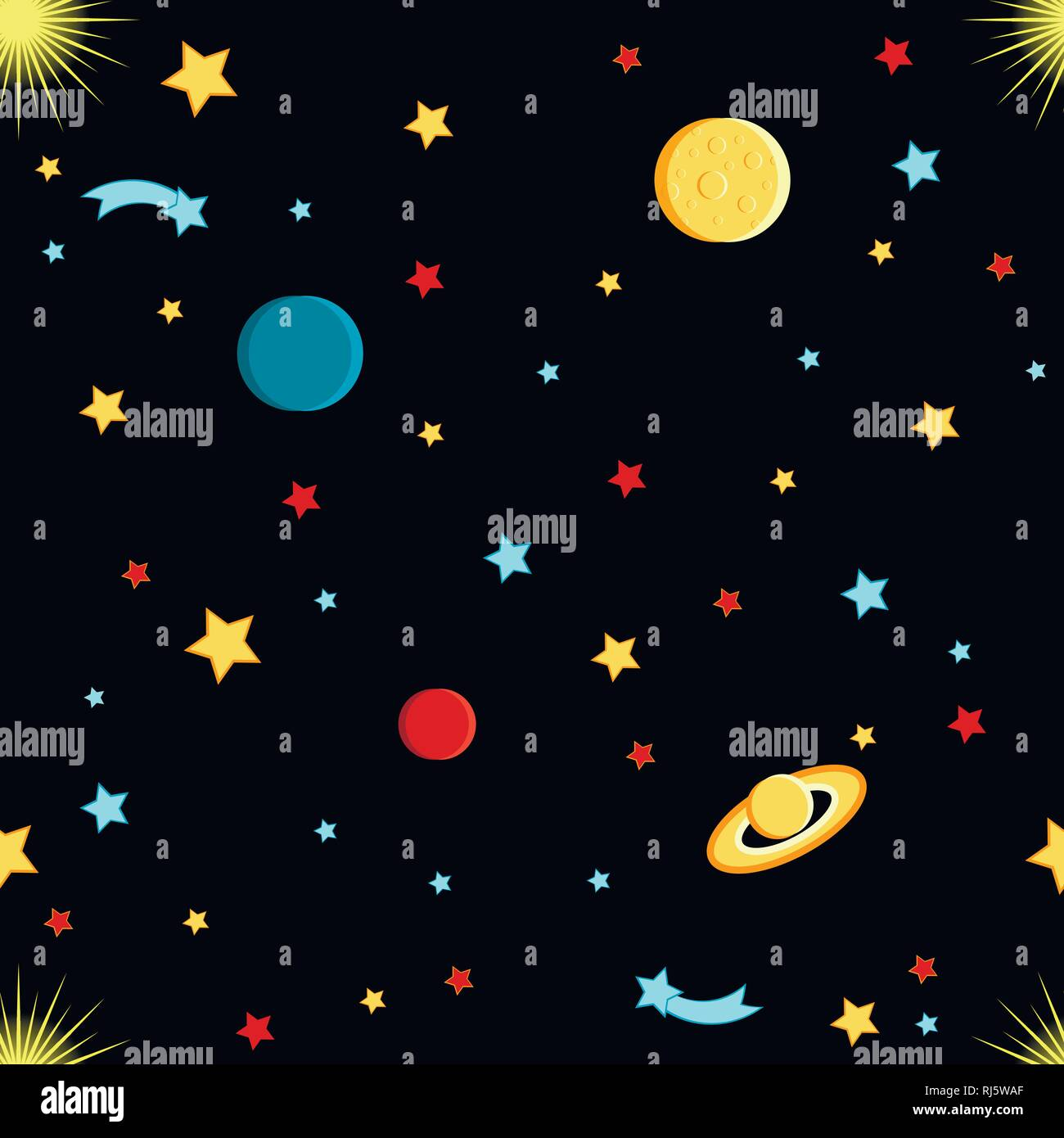 View of space. Moon, Sun, Saturn, Earth, other planets, stars comets space Cartoon style Seamless pattern - Stock Image
