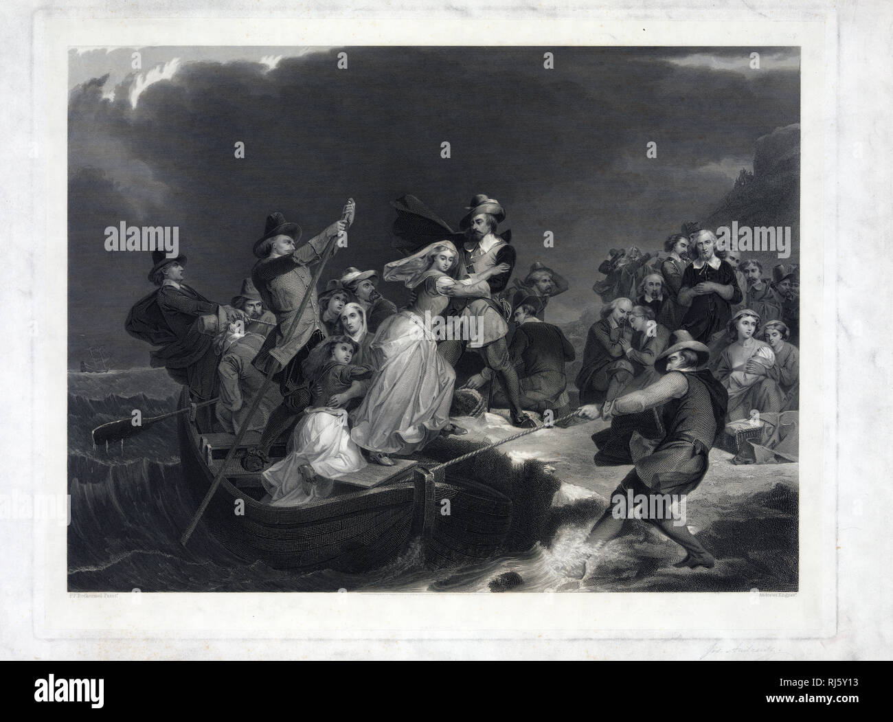 Print showing a woman being helped ashore from a small boat held in