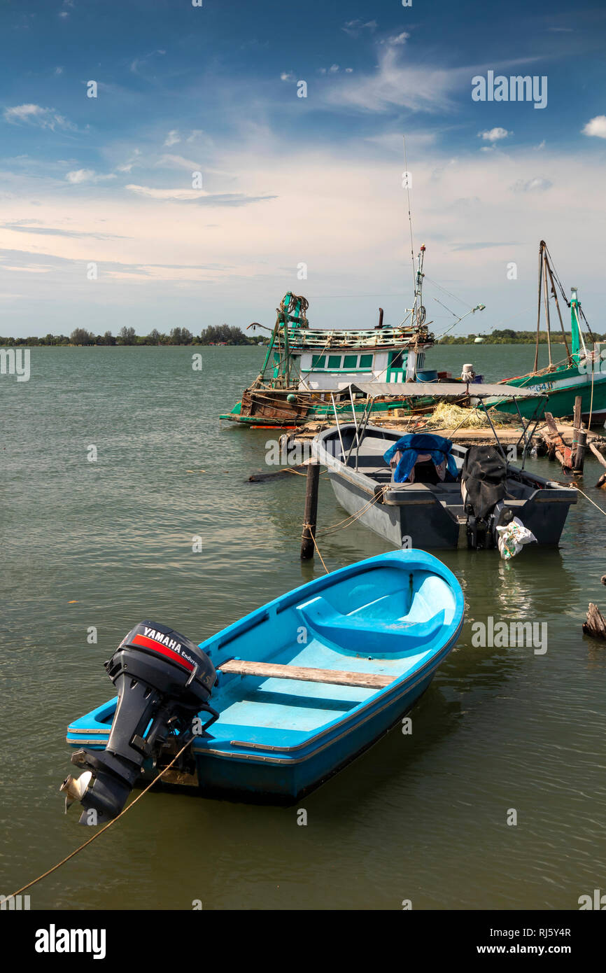 Cambodia, Preah Koh Kong, colourful fishing boats moored onPrek Kaoh Pao river Stock Photo