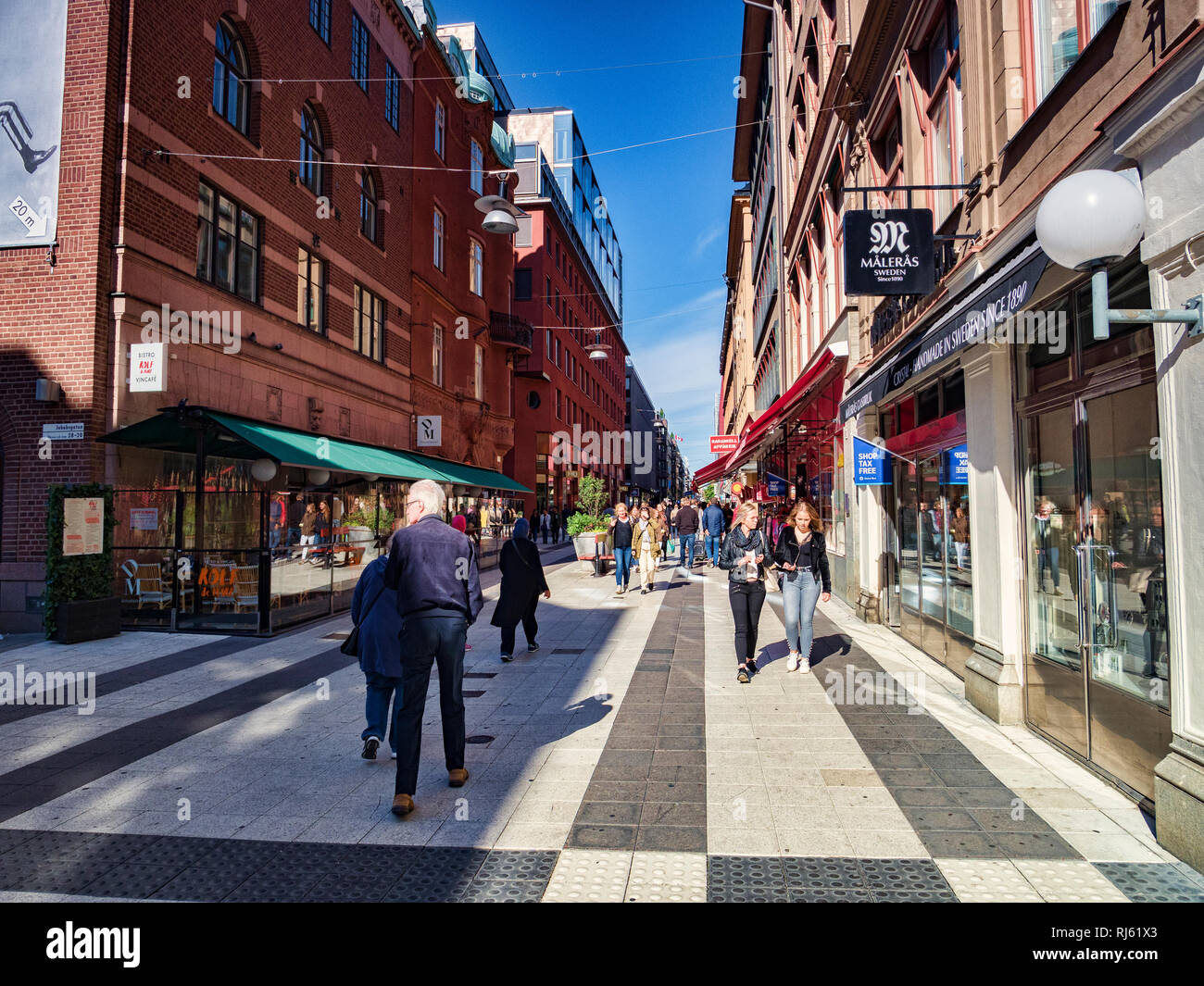 16 September 2018: Stockholm, Sweden - Shoppers in Drottninggatan on a bright sunny autumn weekend. Stock Photo