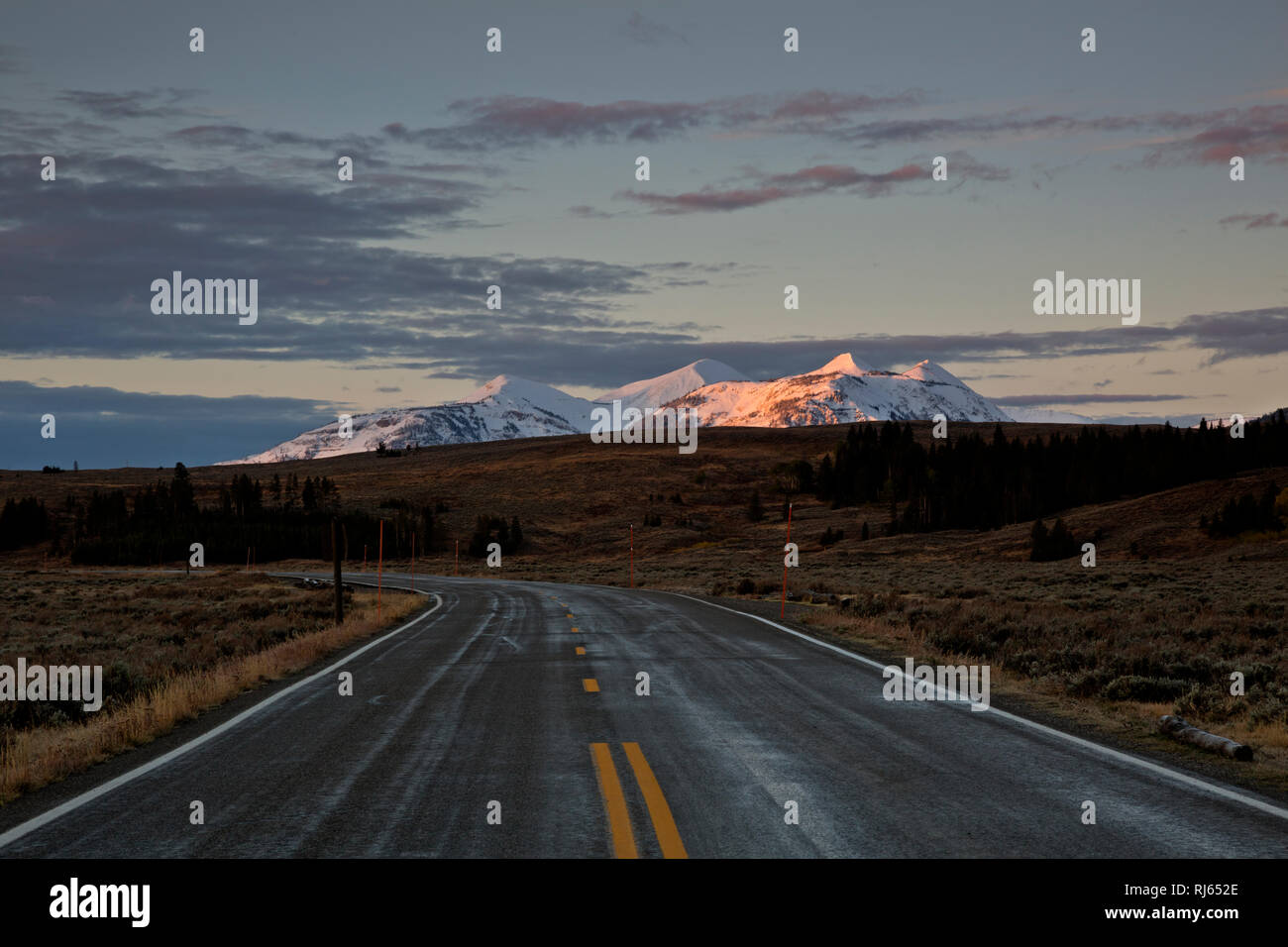 WY03167-00...WYOMING - Sunrise on the Gallatin Mountains from the Mammoth - Norris Road in Gardners Hole; Yellowstone National Park. - Stock Image