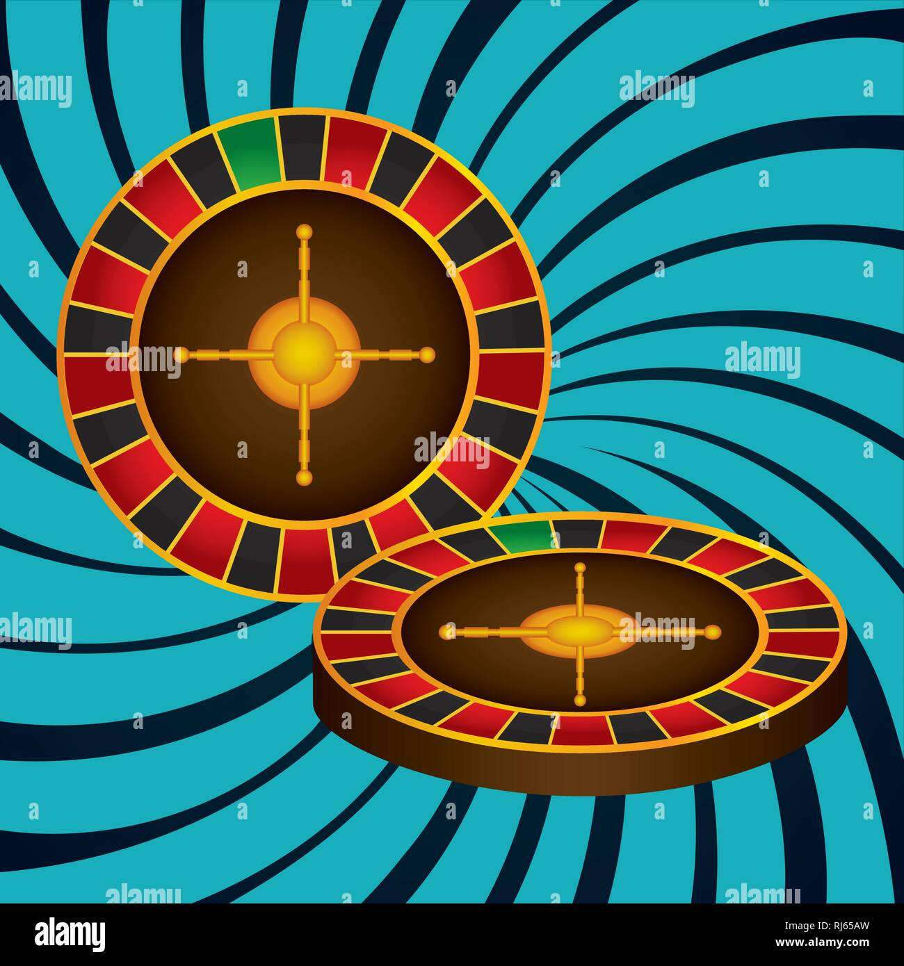 roulette fortune casino icons vector illustration design - Stock Image