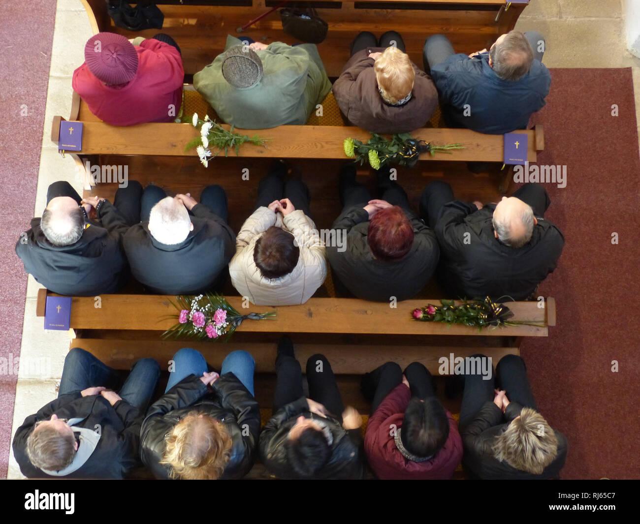 Church, Mrakotin, Moravia, Czech Republic, funeral mourners - Stock Image