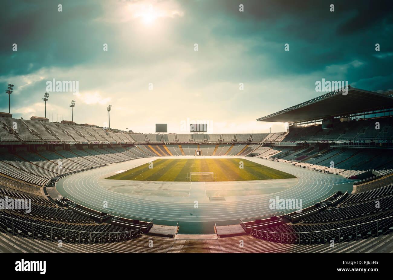 Olympiastadion Barcelona, leer, - Stock Image
