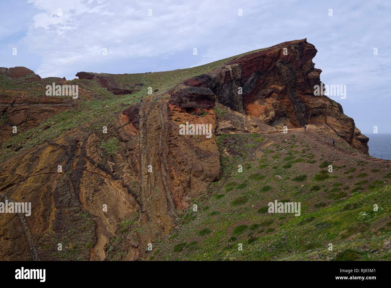 Portugal, Madeira, Meer, Fels, vulkanisch, Gestein, grün - Stock Image