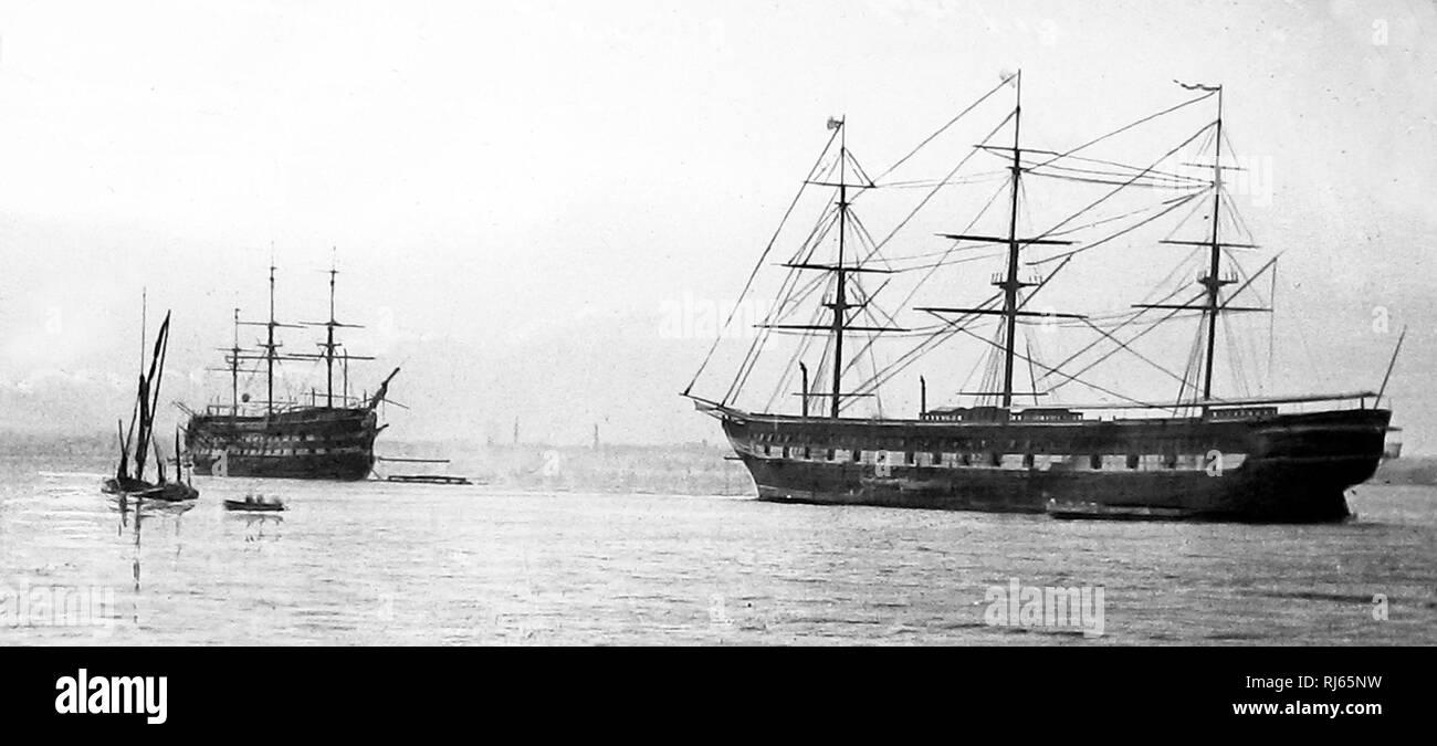 Shaftesbury Training Ship moored off Grays - Stock Image