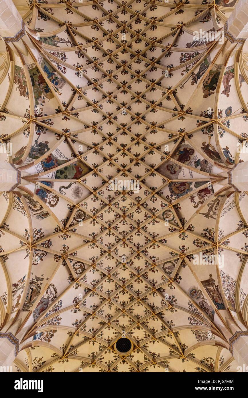 Europa, Deutschland, Sachsen, Pirna, Das reich bemalte Gewölbe der Marienkirche - Stock Image