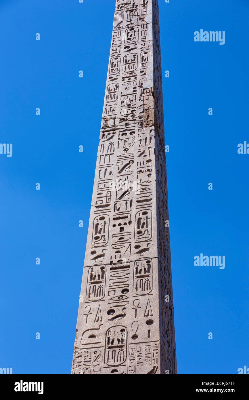 Europa, Italien, Latium, Rom, Detail des Obelisco Flaminio im Zentrum der Piazza del Popolo, - Stock Image