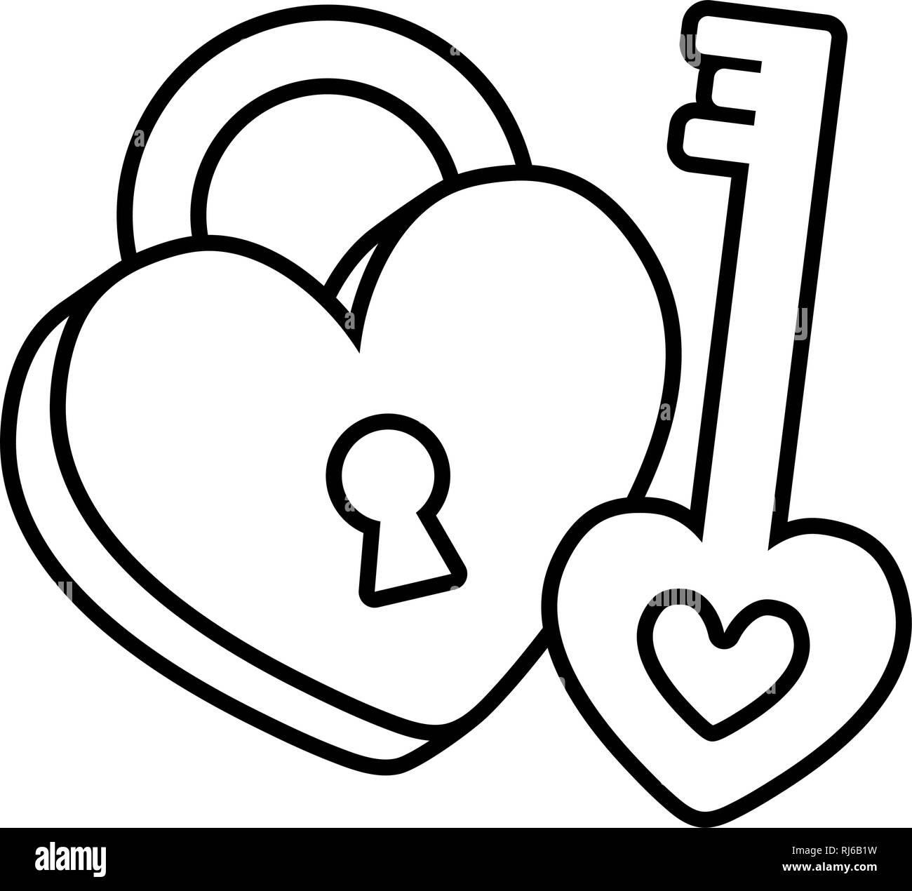 padlock with heart love icon vector illustration design - Stock Image