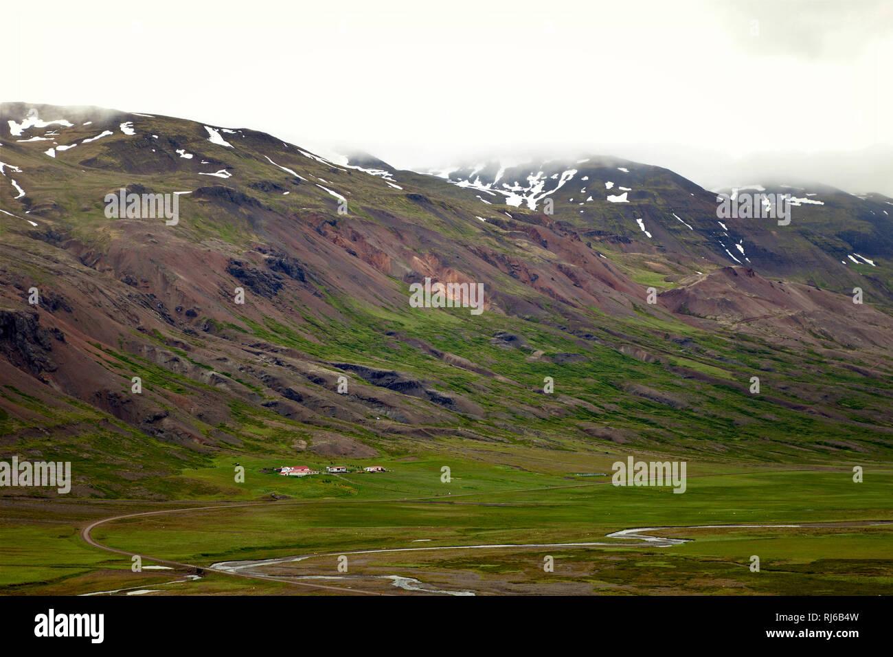 Hotel, Berg, Island, Landschaft - Stock Image