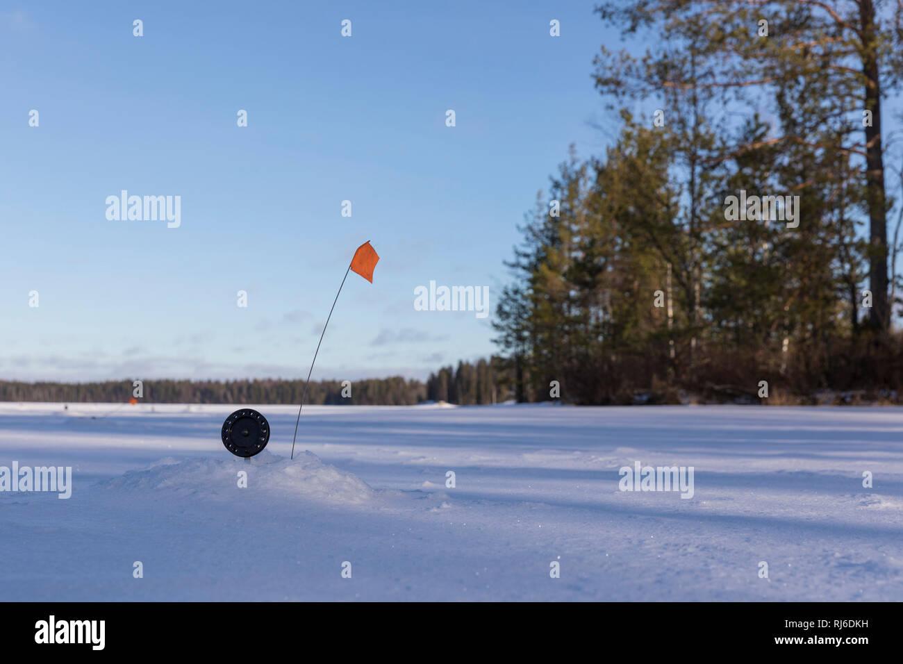 Finnland, Saimaa-Gebiet, Ausrüstung für Winterangeln - Stock Image