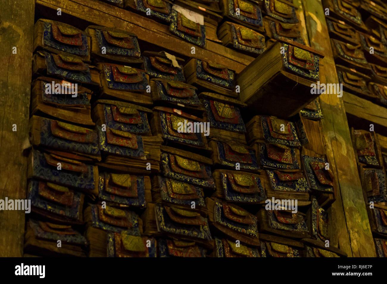 Tibet, Kloster Sakya, Bibliothek - Stock Image