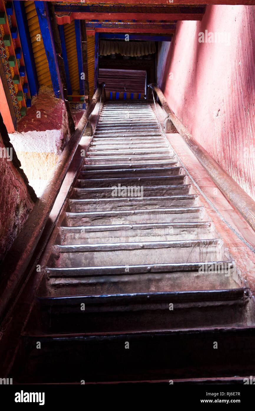 Tibet, Kloster Sakya, Treppe - Stock Image