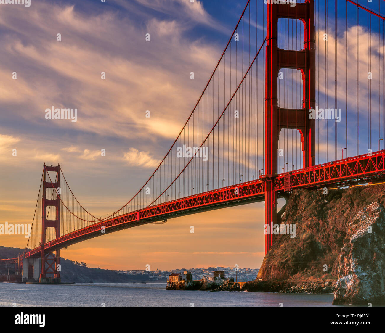 Sunrise, Golden Gate Bridge, San Francisco, California - Stock Image