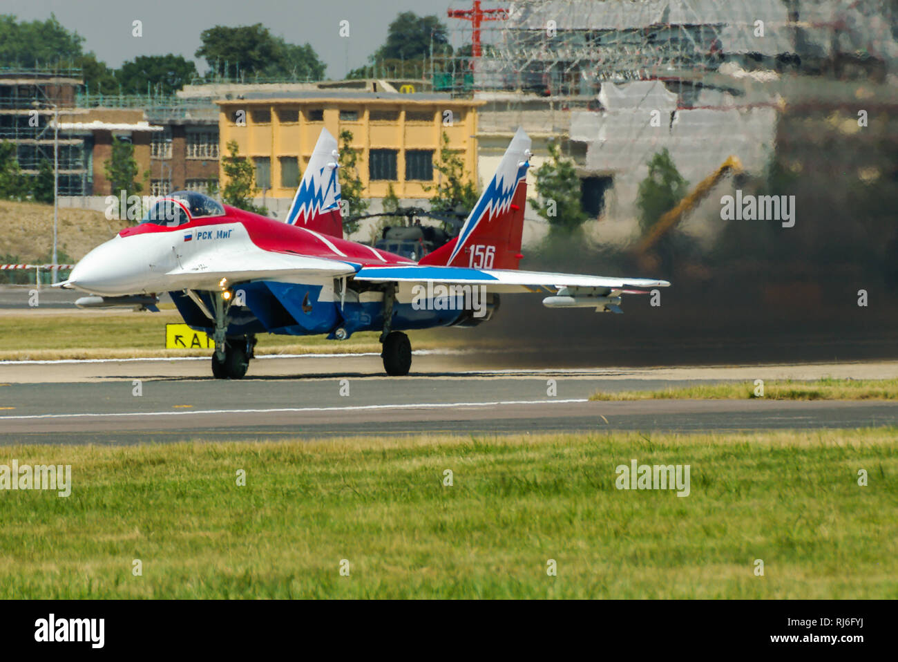 MiG-29OVT jet plane, thrust vectoring testbed flying at the Farnborough International Airshow, UK air show. Mikoyan Gurevich MiG29 - Stock Image