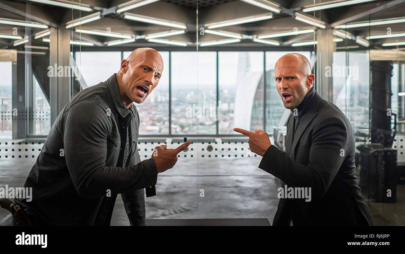 FAST & FURIOUS PRESENTS ; HOBBS & SHAW 2019 Universal Pictures film with Dwayne Johnson at left and Jason Statham - Stock Image