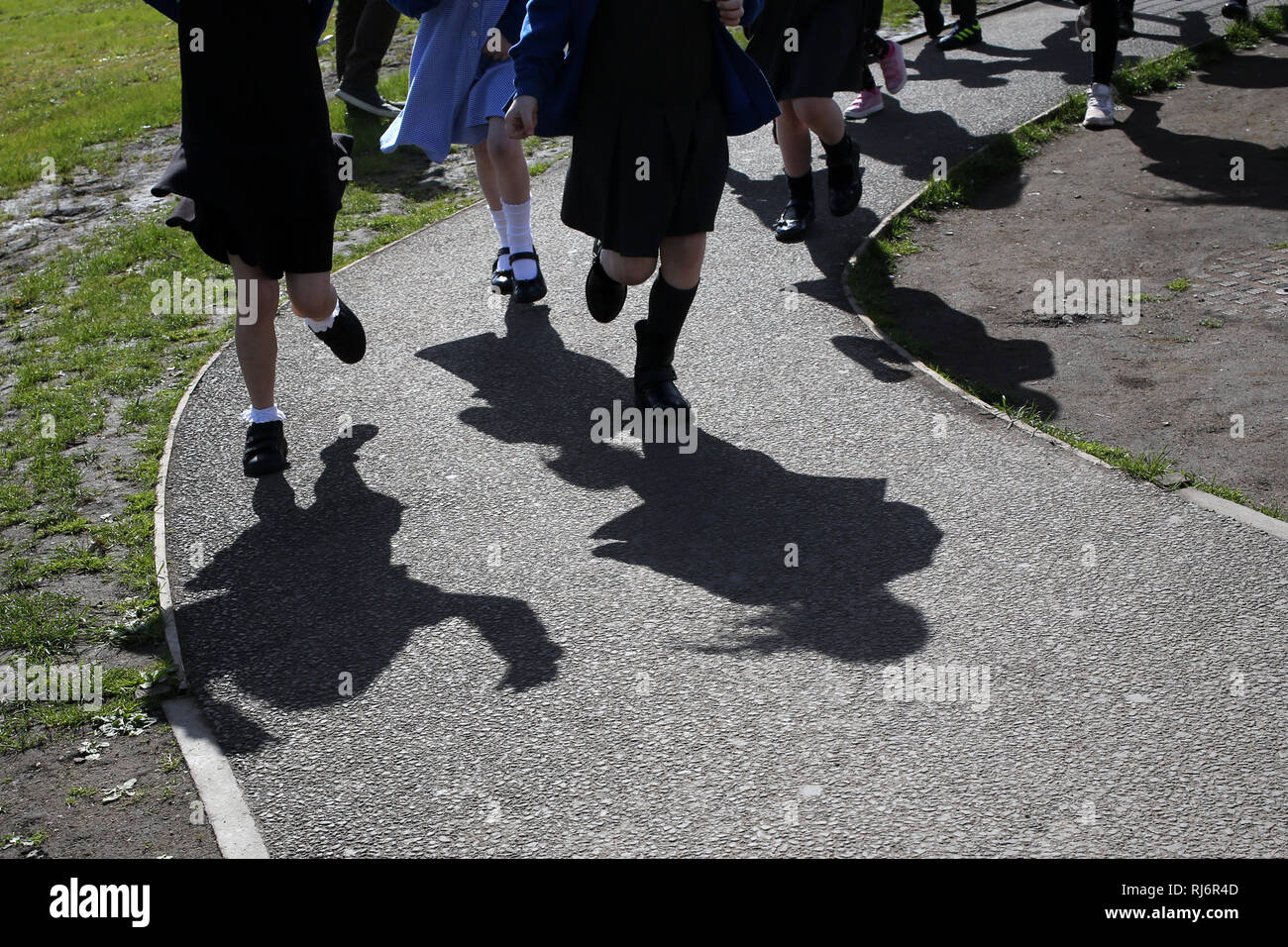 School Daily Mile at St Ninian's Primary school Stirling - Stock Image