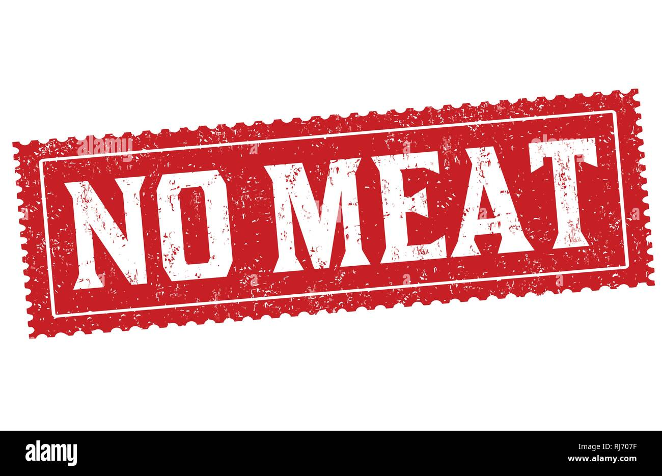 No meat sign or stamp on white background, vector illustration - Stock Vector