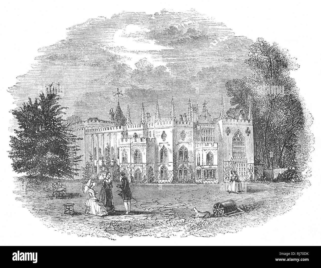 Strawberry Hill House built in Twickenham, south-west London, reviving the Gothic style some decades before  Victorian successors. It was built by Horatio Walpole, 4th Earl of Orford (1717-1797), also known as Horace Walpole, the son of the first British Prime Minister, Sir Robert Walpole, was Whig politician, art historian, man of letters, antiquarian and an English writer whose literary reputation rests on the first Gothic novel, The Castle of Otranto (1764), and his Letters, which are of significant social and political interest. - Stock Image