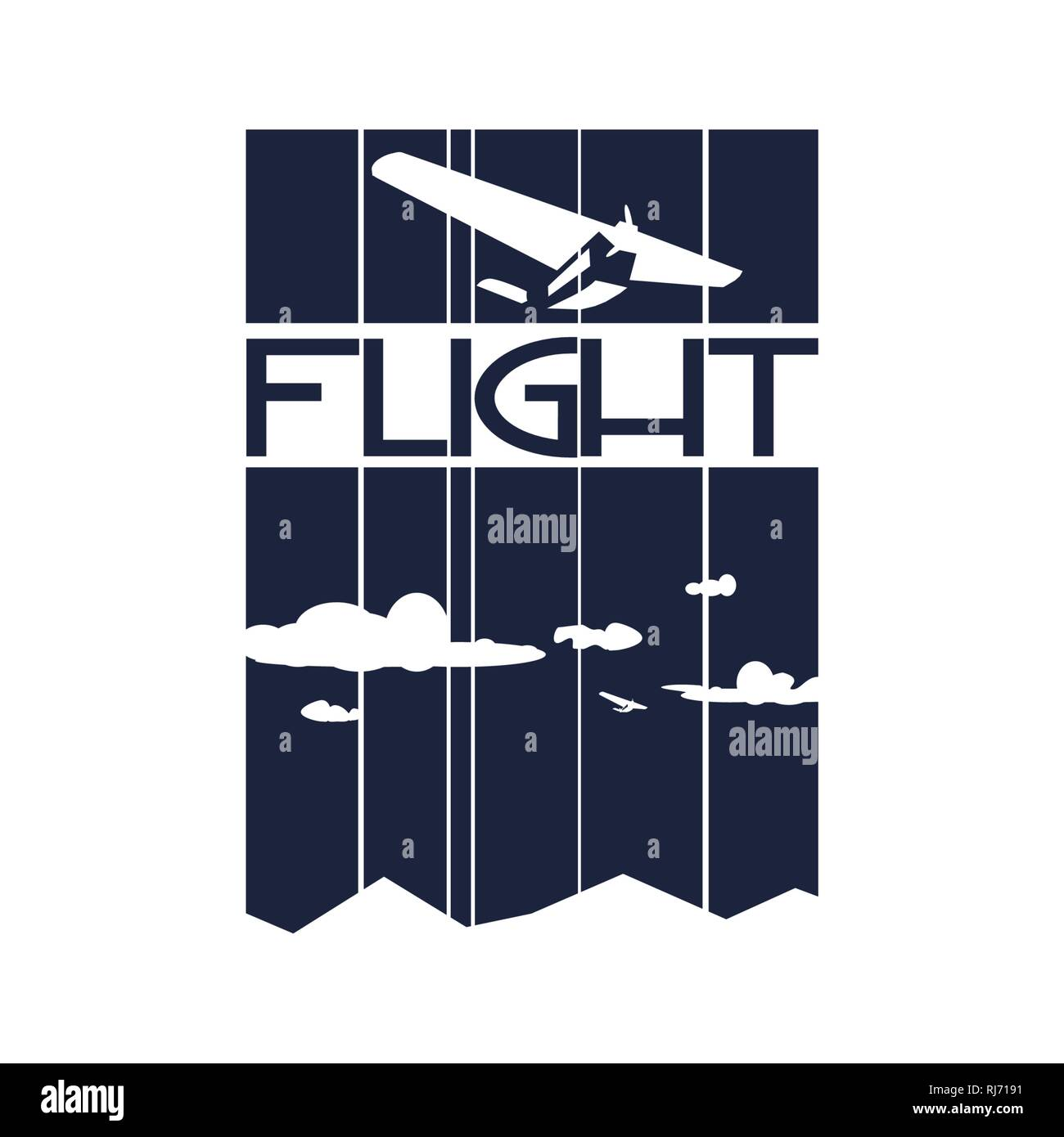airplane on striped backdrop - Stock Vector