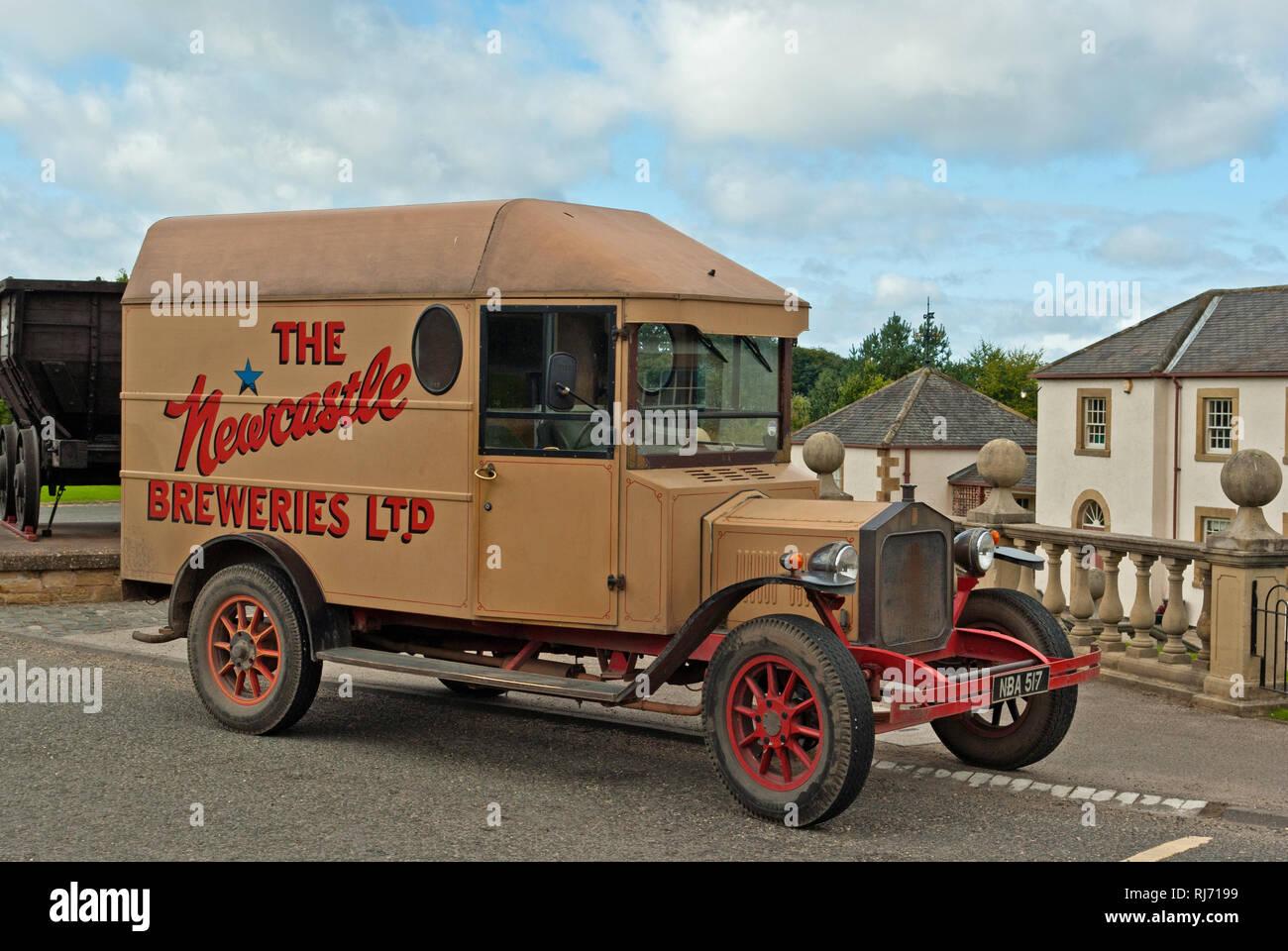 Vintage Newcastle Breweries delivery van, Beamish Museum, County Durham, UK - Stock Image