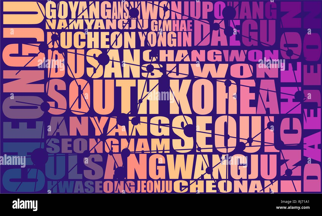 List of cities and towns of South Korea. Stock Vector