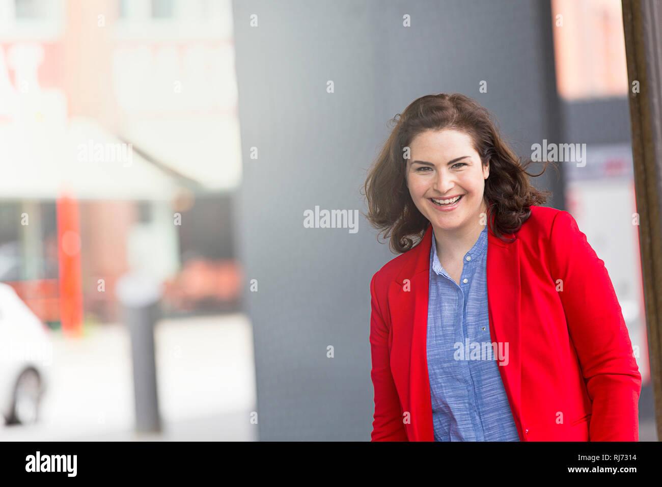 Frau, lächeln, Porträt, - Stock Image