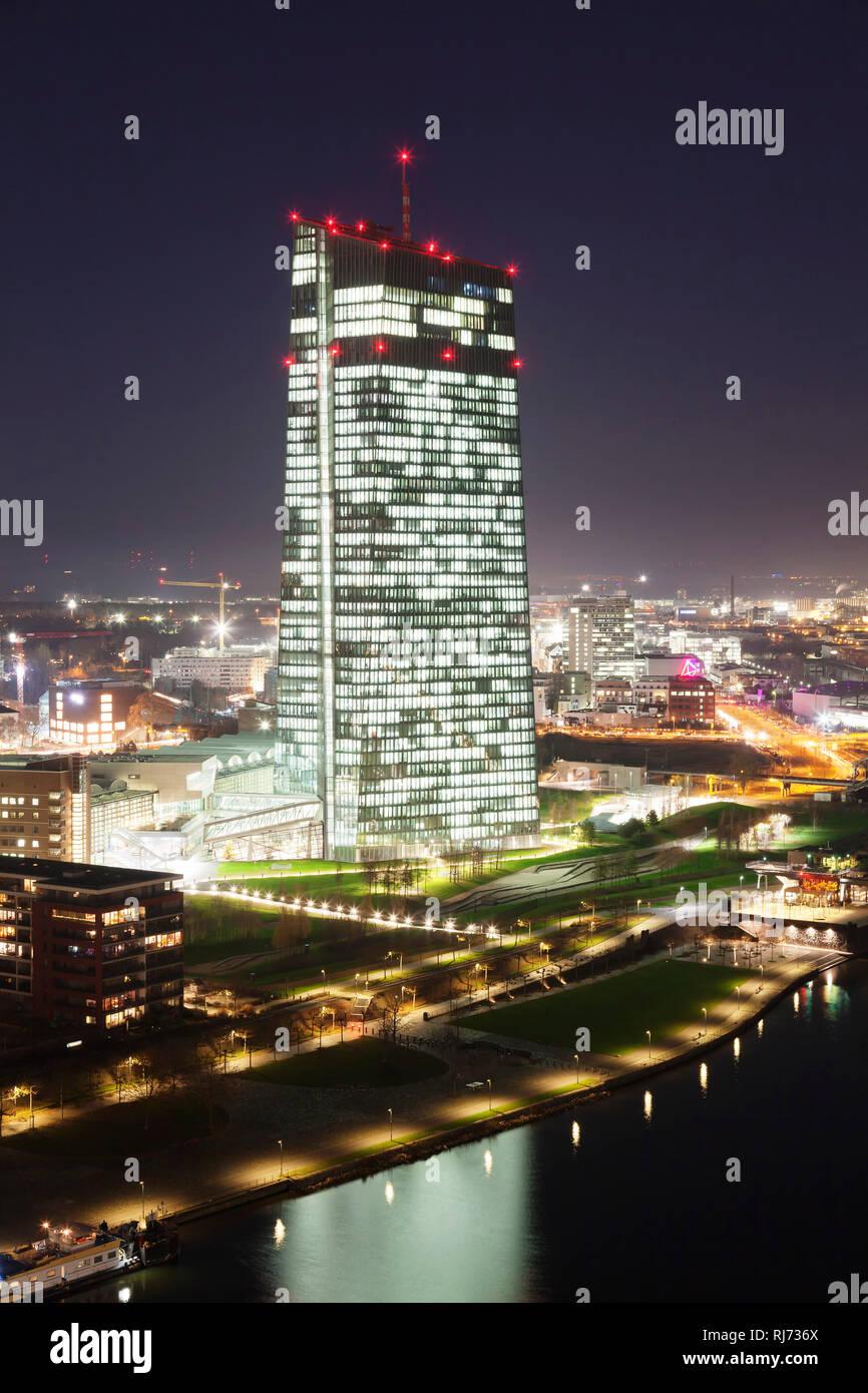 Europäischen Zentralbank und Osthafen, Frankfurt, Hessen, Deutschland - Stock Image