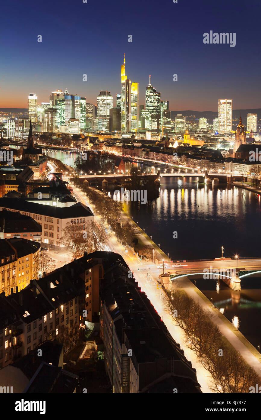 Skyline mit Bankenviertel, Frankfurt, Hessen, Deutschland - Stock Image