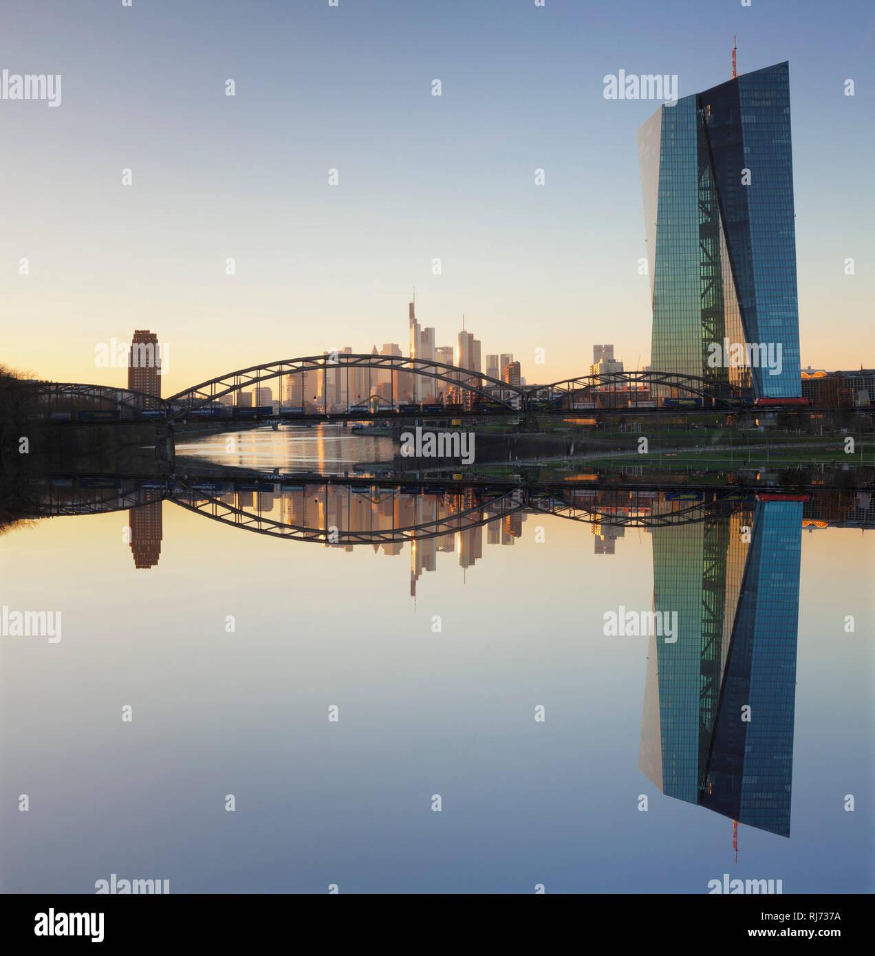Blick über den Main zur Europäischen Zentralbank und der Skyline von Frankfurt, Hessen, Deutschland - Stock Image