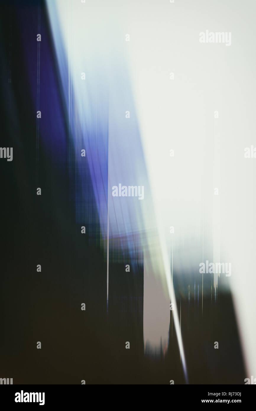 Abstrakte Silhouetten und Doppelbelichtungen von Hochhäusern, - Stock Image