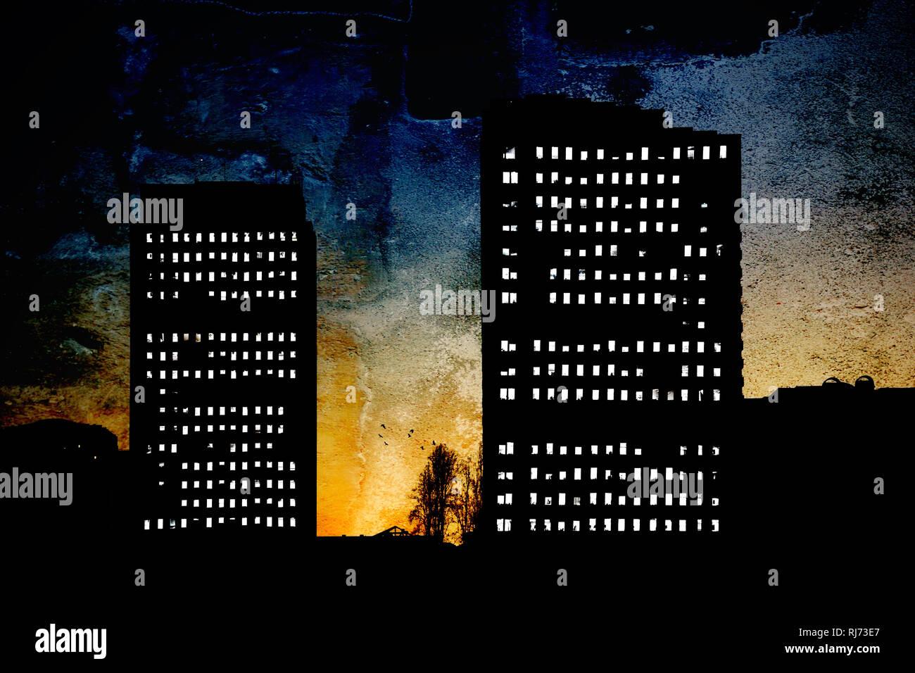 Die surrealen Silhouetten von Hochhäusern am frühen Morgen in San Diego, beleuchtete Fenster, - Stock Image