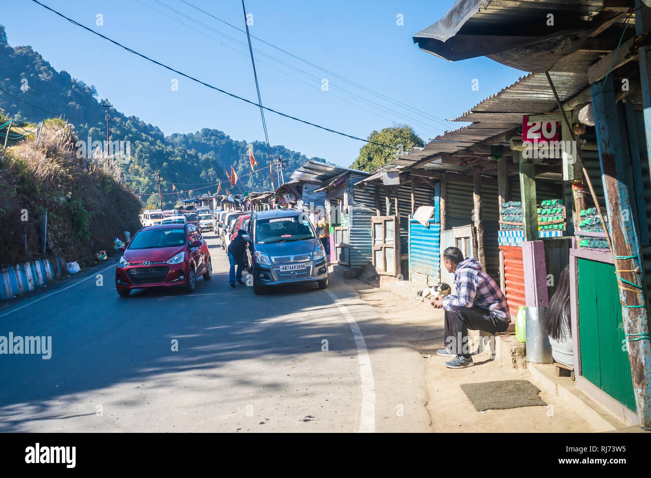 Darjeeling, 2 Jan 2019: A small Tea market on the top of a hill of south asian himalayan range , where tourists come to enjoy the panoramic view of Ka - Stock Image