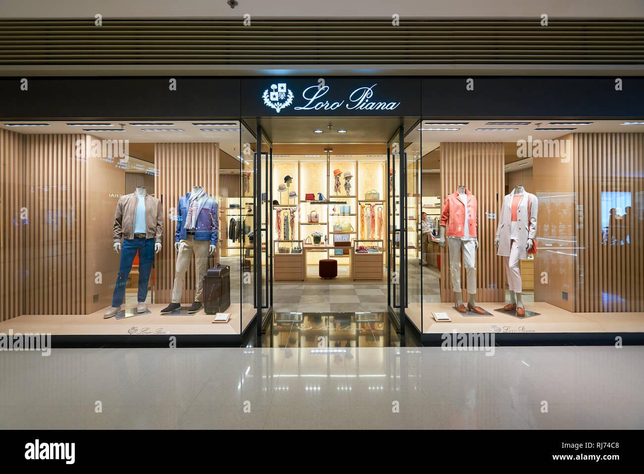 HONG KONG - JANUARY 26, 2016: Loro Piana store at Elements Shopping Mall. Loro Piana is an Italian clothing company specialising in high-end, luxury c Stock Photo