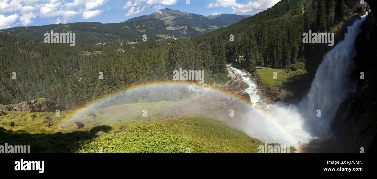 Krimmler Wasserfälle, Nationalpark Hohe Tauern, Salzburger Land, Österreich, - Stock Image