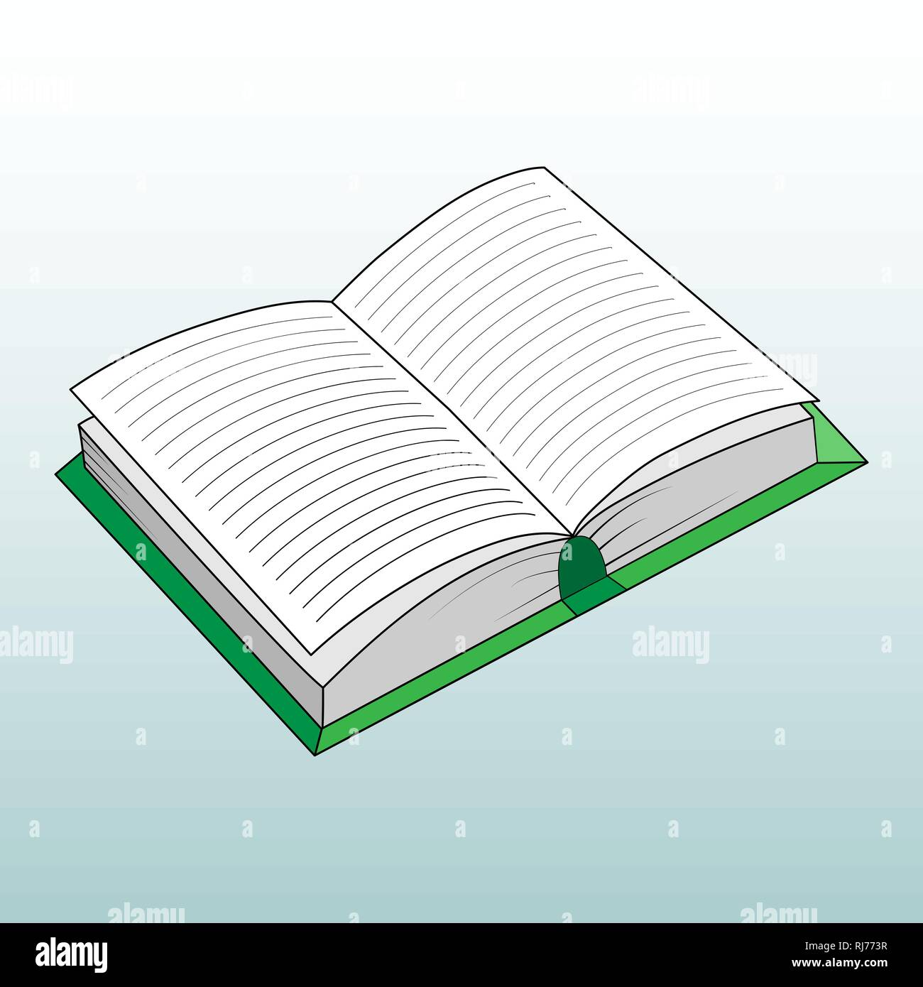 Color illustration of an open book, simple drawing Stock