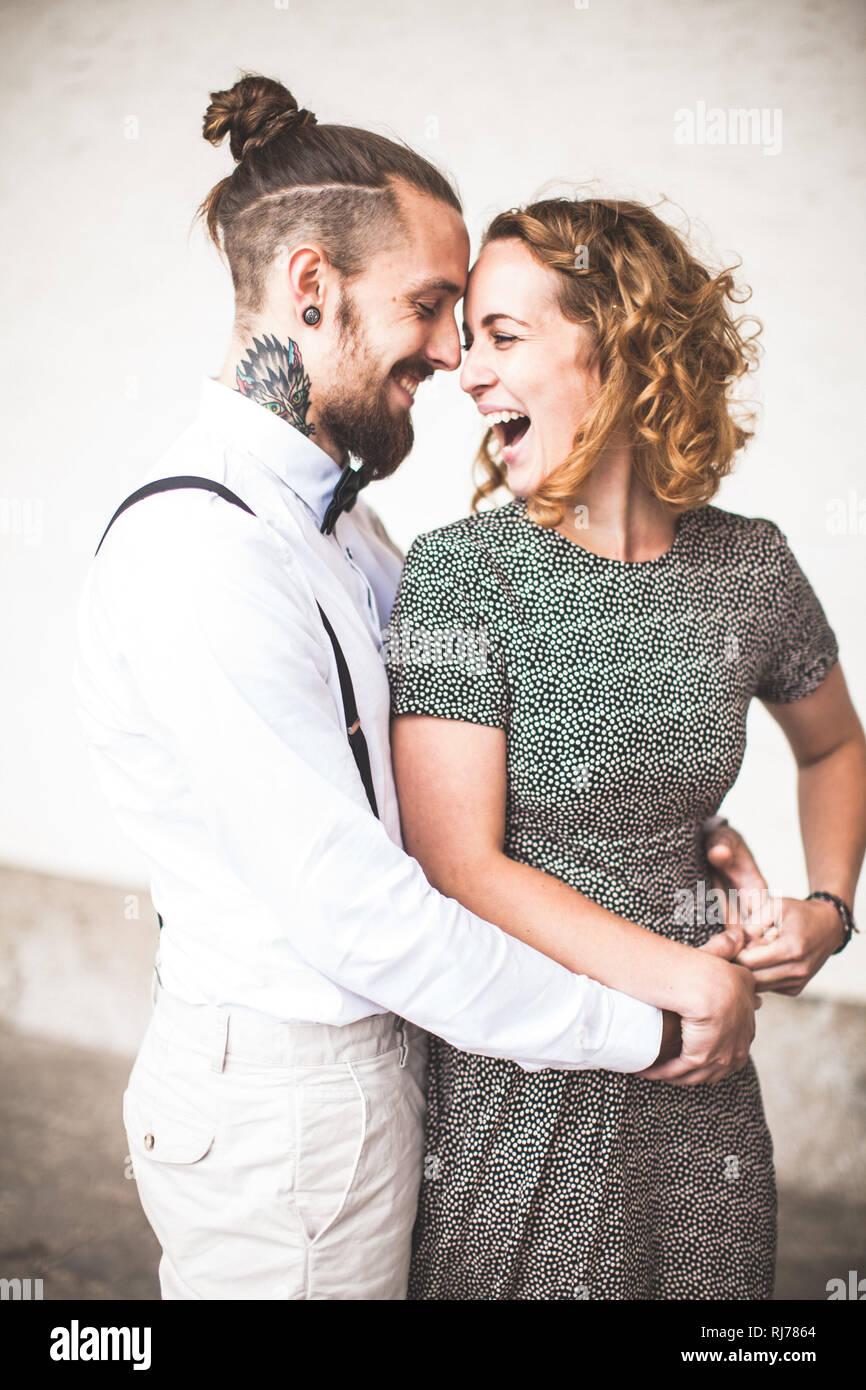 junges Paar, glücklich, verliebt, Spaß, lachen Stock Photo
