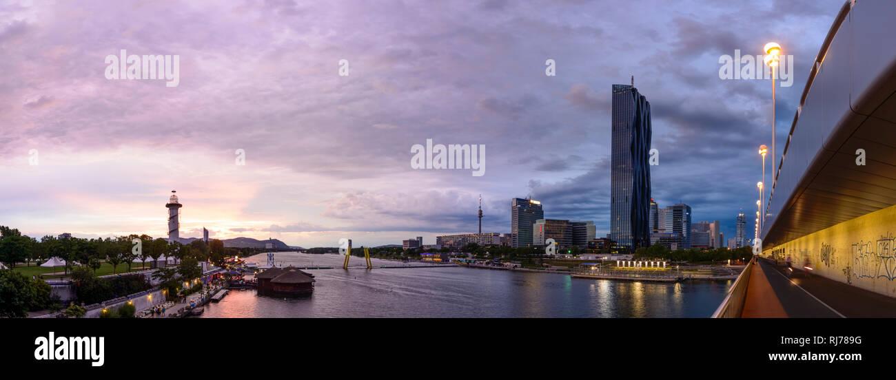 Danube Island, New Danube, floating restaurants, overlooking the Vienna Woods, Danube Tower . DC Tower 1, Reichsbrücke, Wien, Vienna, 22. Donaustadt,  - Stock Image