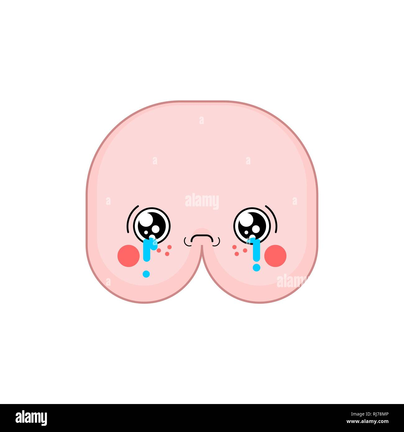 Ass Cute Pics sad kawaii ass cute cartoon. funny butt crying stock vector