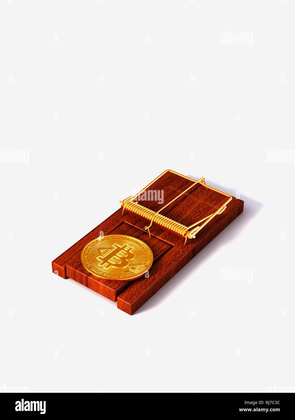 Bitcoin, Kryptowährung, Virtuelle Währung, Falle, Risiko Stock Photo