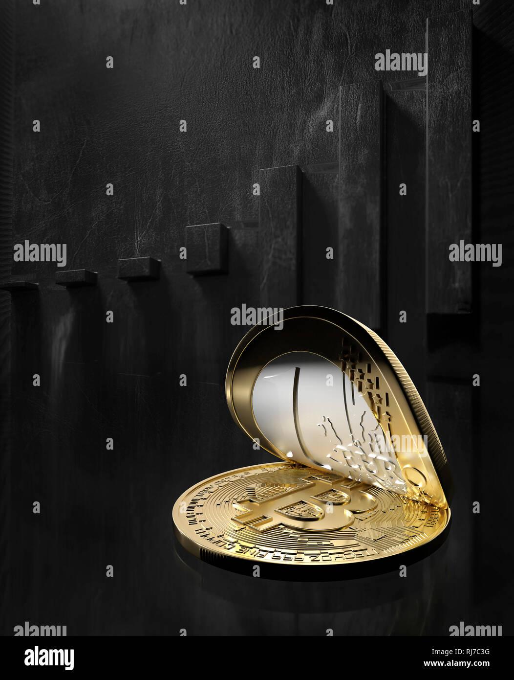 Bitcoin, Kryptowährung Stock Photo